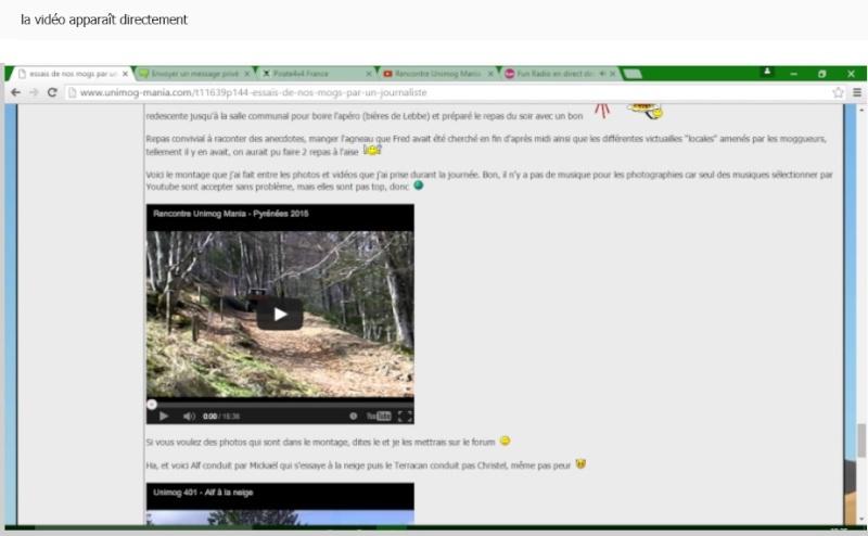 mettre une vidéo YouTube dans votre message Ariege12