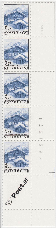 """Druckdaten der Überdruckmarken """"Ferienland Österreich"""" 02710"""