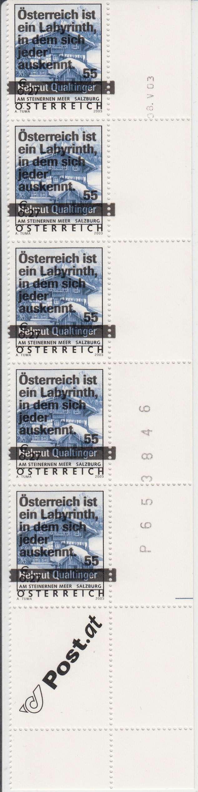 """Druckdaten der Überdruckmarken """"Ferienland Österreich"""" Yberdr11"""