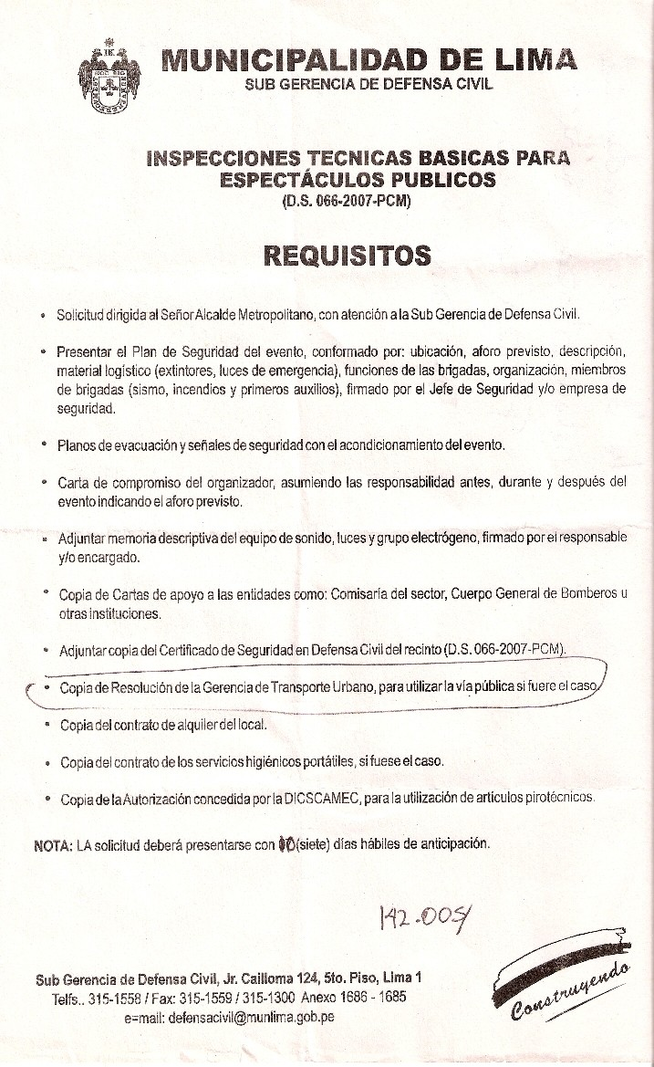 Requisitos para realizar evento en Plaza Francia Requis10
