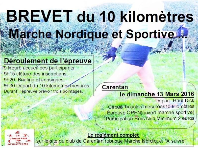 brevet du 10 kilometre marche nordique sportive Affich10