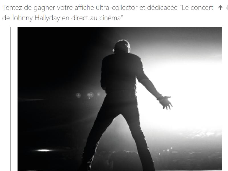 Gagner l'affiche dedicacée ultra collector de johnny du concert retransmis au cinema Captur23