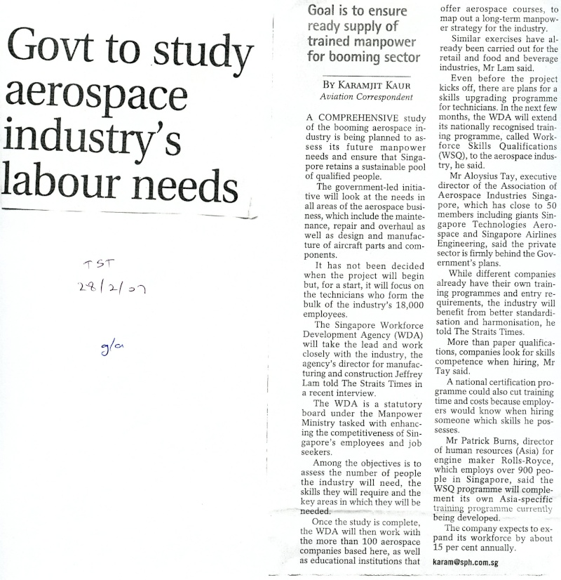 Govt To Study Aerospace Industry's Labour Needs 20070211