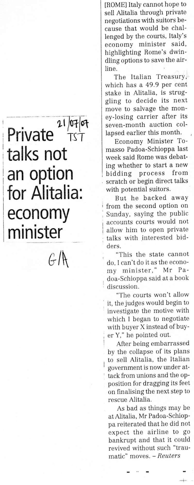 Private Talks Not An Option For Alitalia:Economy Minister 20070710
