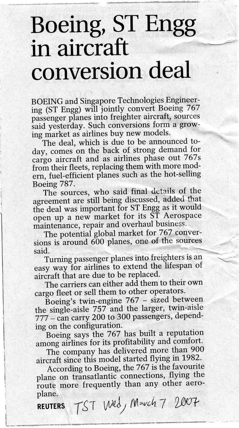 Boeing, ST Engineering in an aircraft conversion deal Img85810