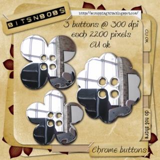 Cu Chrome buttons Bnb-ch10