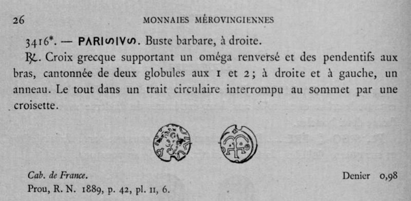 Denier merovingien Paris croix ancré Belfor10