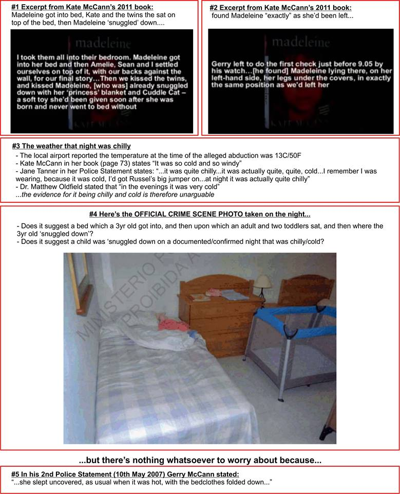 "Darren Ware's screenshot and quotes about Madeleine's (alleged) bed taken from Richard D. Hall's first documentary (""The True Story of Madeleine McCann - Buried By Mainstream Media) Bed10"