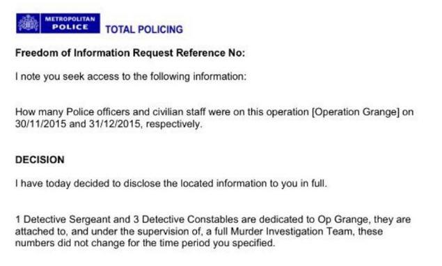 "FOI Request to Op Grange - ""A full murder investigation team"" Murder10"
