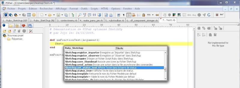 Éditeur de script pour SketchUp Script10