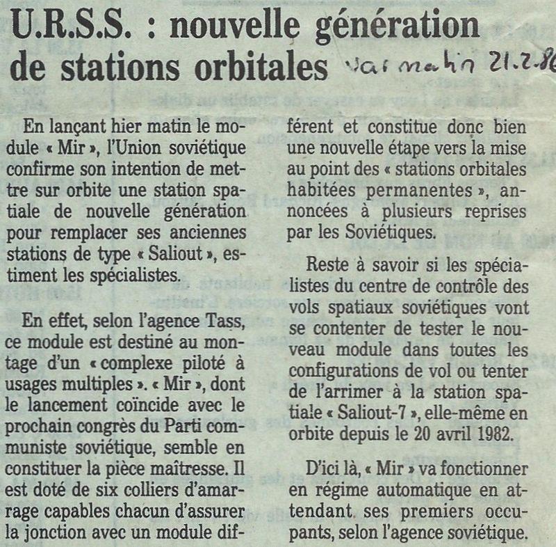 19 février 1986 - Station Spatiale MIR 86022110