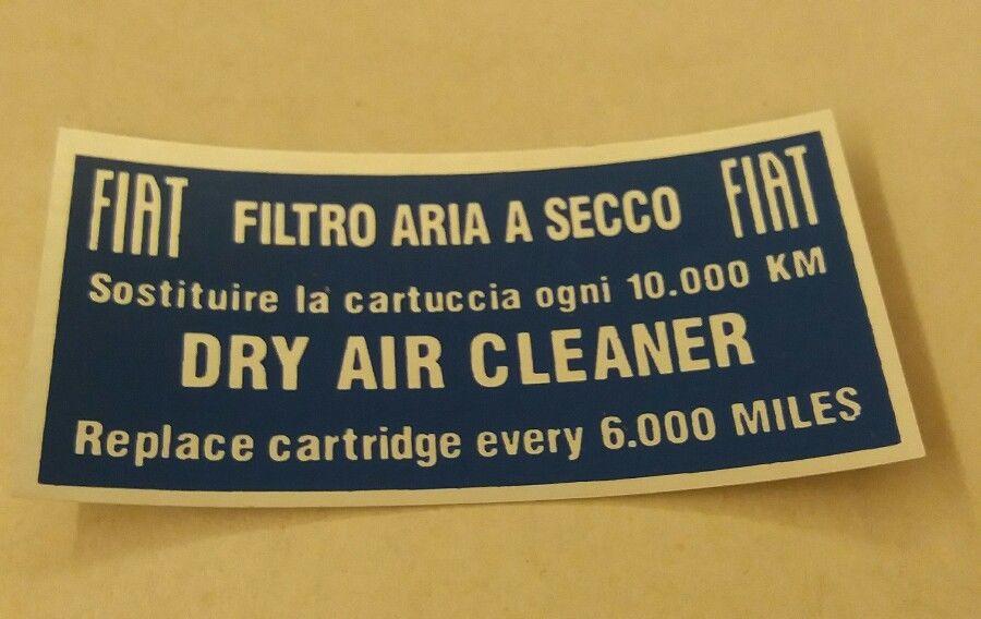 targhetta adesiva filtro aria 124 Adesif10