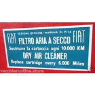targhetta adesiva filtro aria 124 Marina10