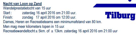 Nuit de Loon op Zand (NL): 15 heures ou 80km: 16-17/04/2016 Loon_o10