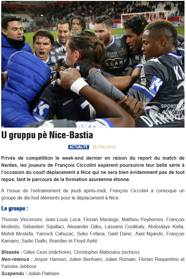J28 / Jeu des pronos - Prono Nice-Bastia S16