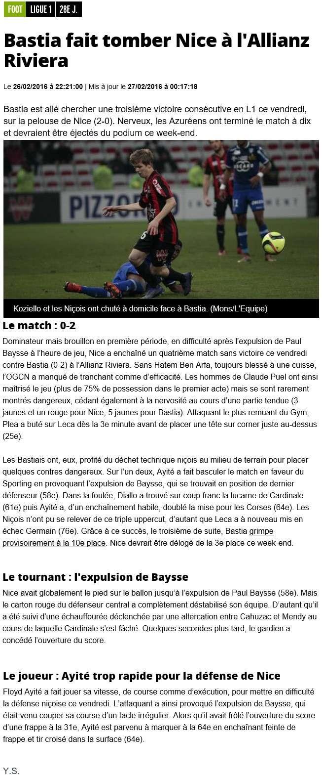 Après match : Nice - Bastia S18