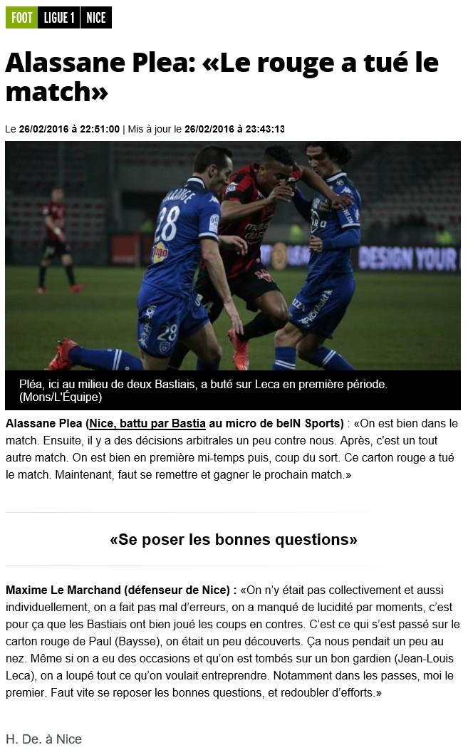 Après match : Nice - Bastia S20