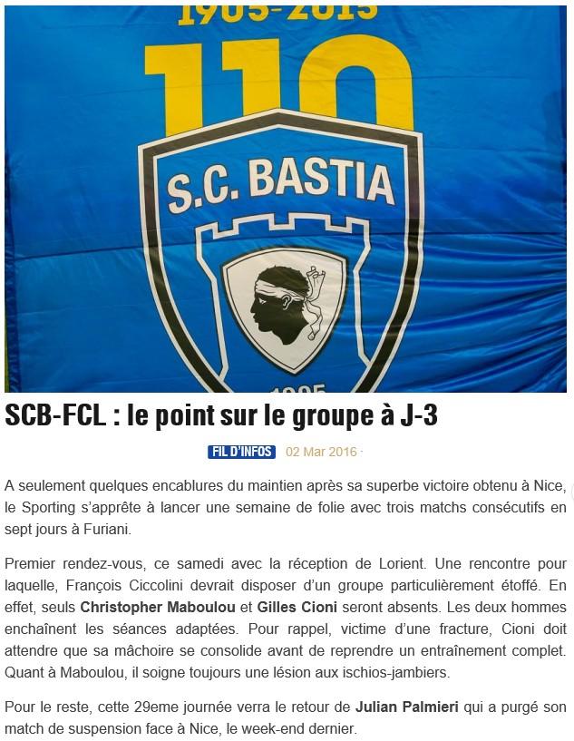 Avant match : Bastia - Lorient S24