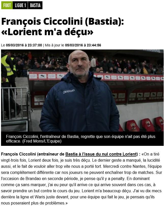 Après match : Bastia - Lorient S29