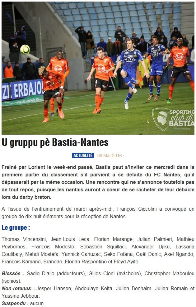 J27 / Jeu des pronos - Prono Bastia-Nantes S33