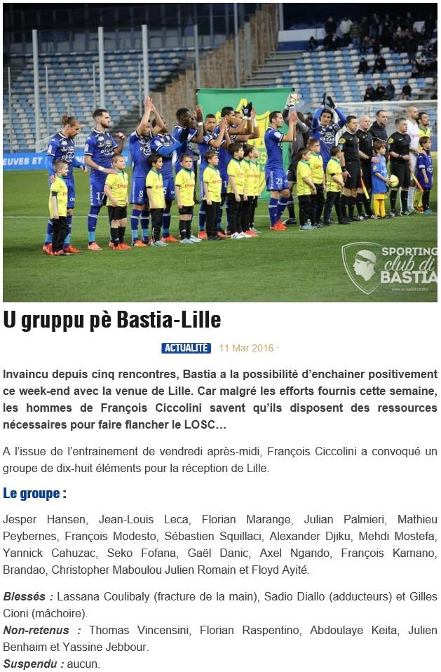 J30 / Jeu des pronos - Prono Bastia-Lille S40