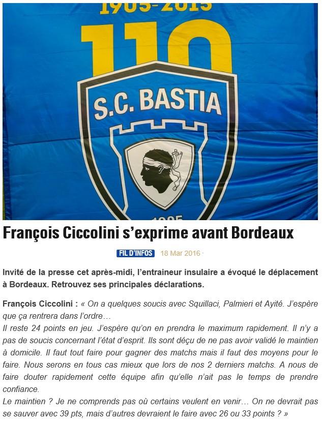 Avant match : Bordeaux - Bastia S47
