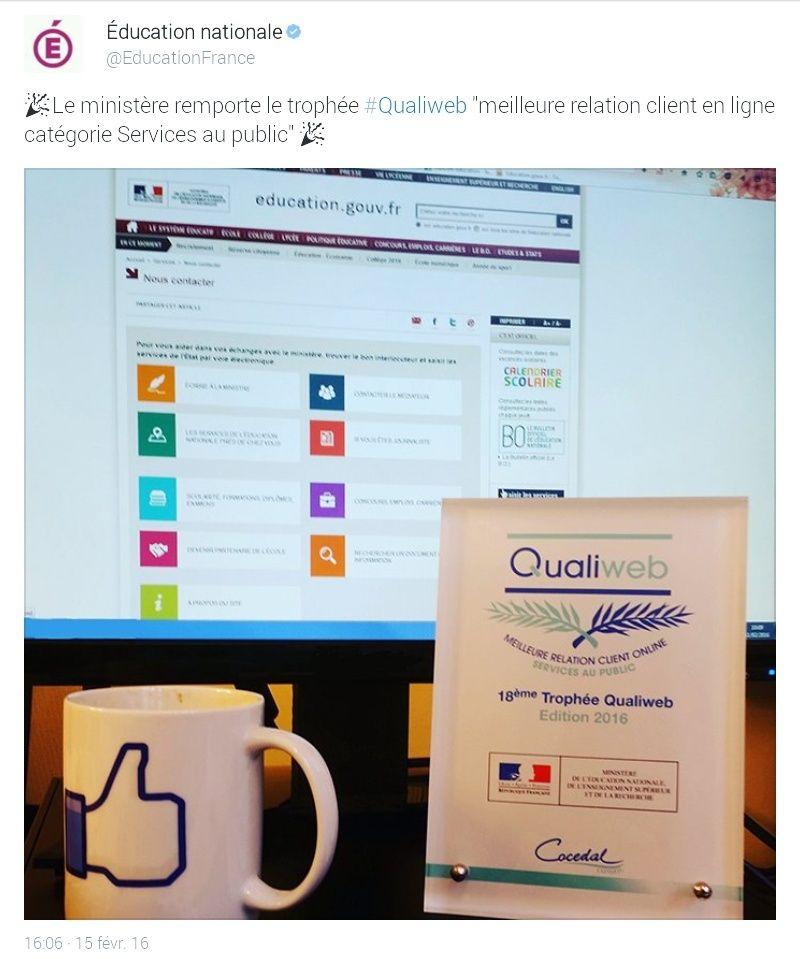"""l'EN reçoit le trophée qualiweb :""""meilleure relation client en ligne""""... Screen10"""