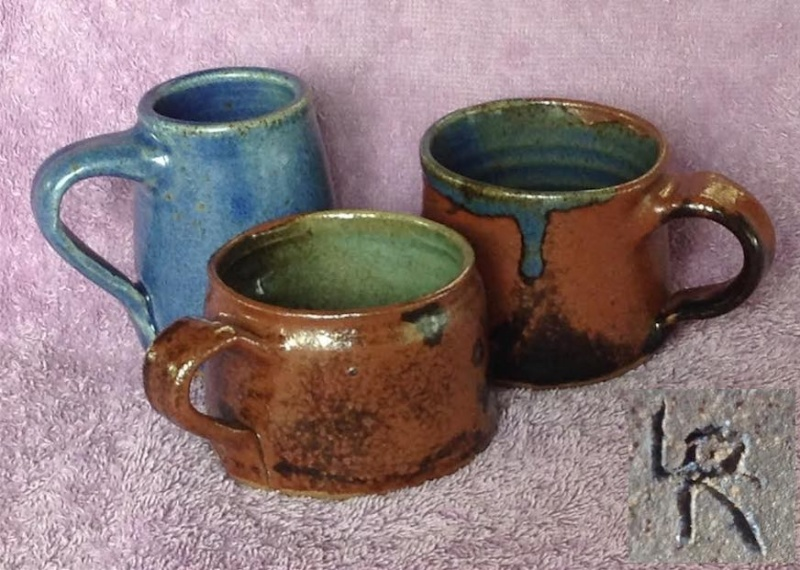 "three small mugs by ""LR""  Lr10"