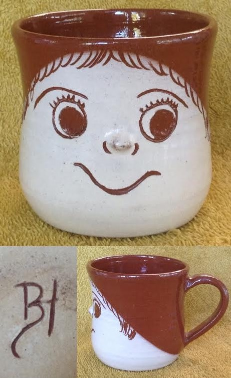 Slip decorated face mug with unknown mark Slipfa10