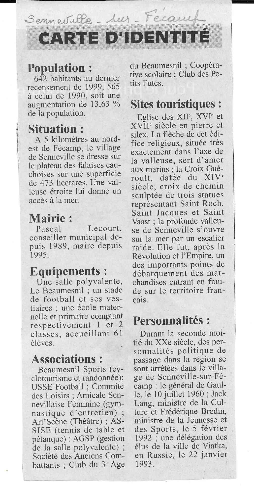 bolbec - Histoire des communes - Senneville-sur-Fécamp 335