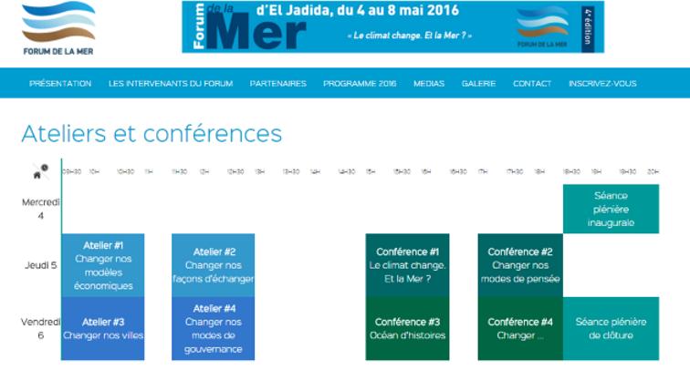 """04/05 au 08/05 - 4ème forum de la mer à El Jadida sur le thème """"le climat change. Et la mer ?"""" Progra10"""