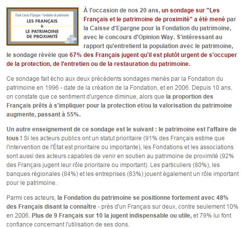 67% DES FRANÇAIS JUGENT LA SAUVEGARDE DU PATRIMOINE URGENTE ! Fondat10