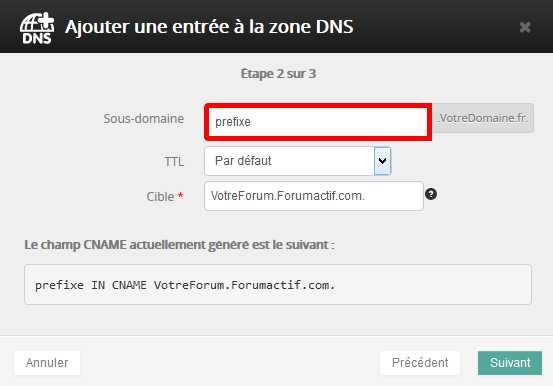 Reconfigurer un nom de domaine externe pour qu'il dirige vers votre forum Cname210
