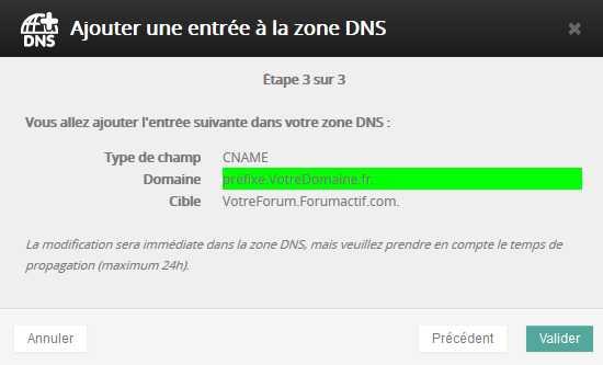 Reconfigurer un nom de domaine externe pour qu'il dirige vers votre forum Cname310