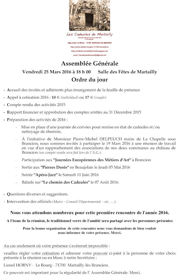 """""""Les Cadeules de Martailly"""" Assemblée Générale Convoc10"""
