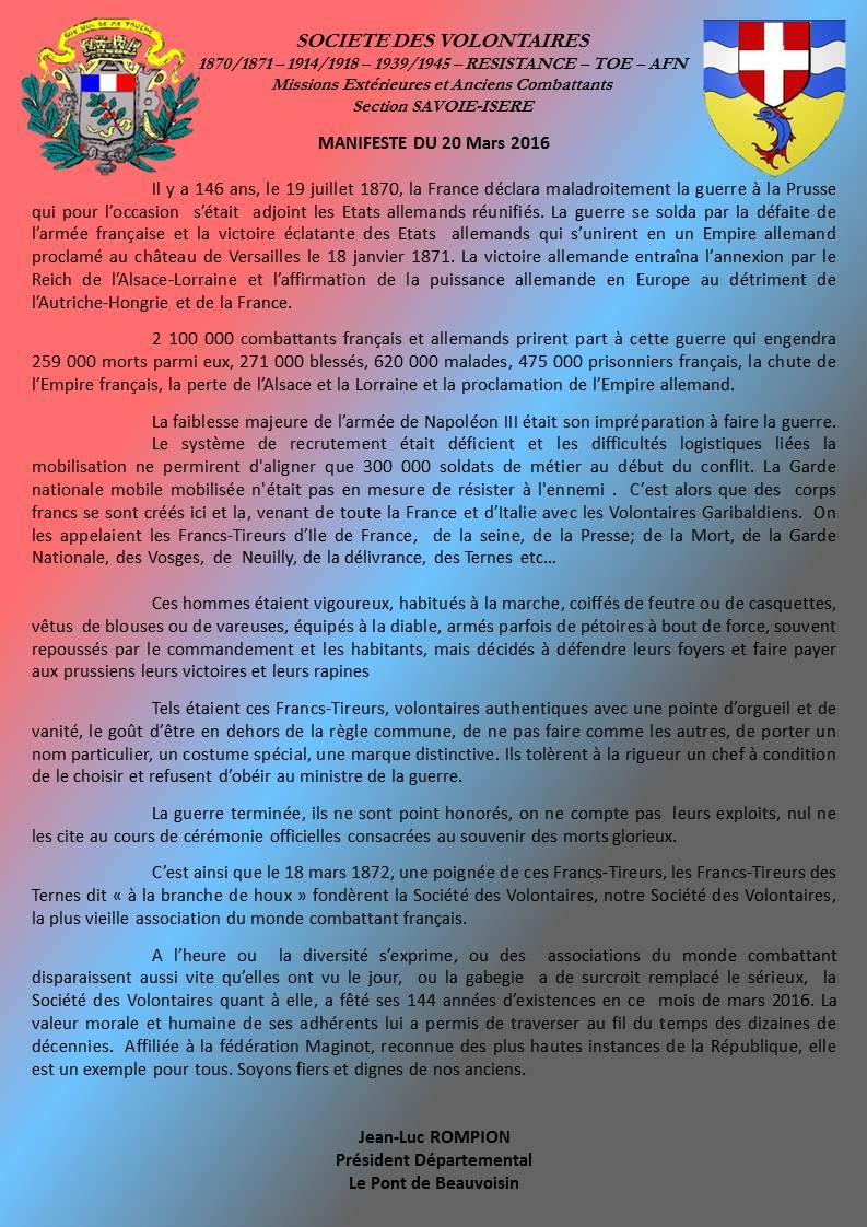 HISTORIQUE DE LA SOCIETE DES VOLONTAIRES Manife10