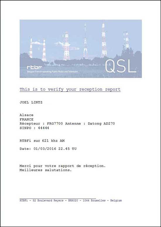 """QSL RTBF """" La Première """" Qsl_rt10"""