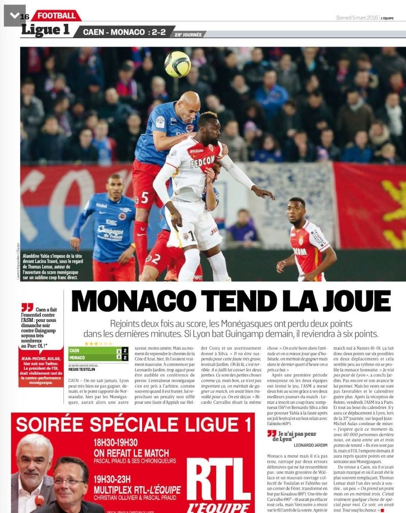 [29e journée de L1] SM Caen 2-2 AS Monaco - Page 2 22624310