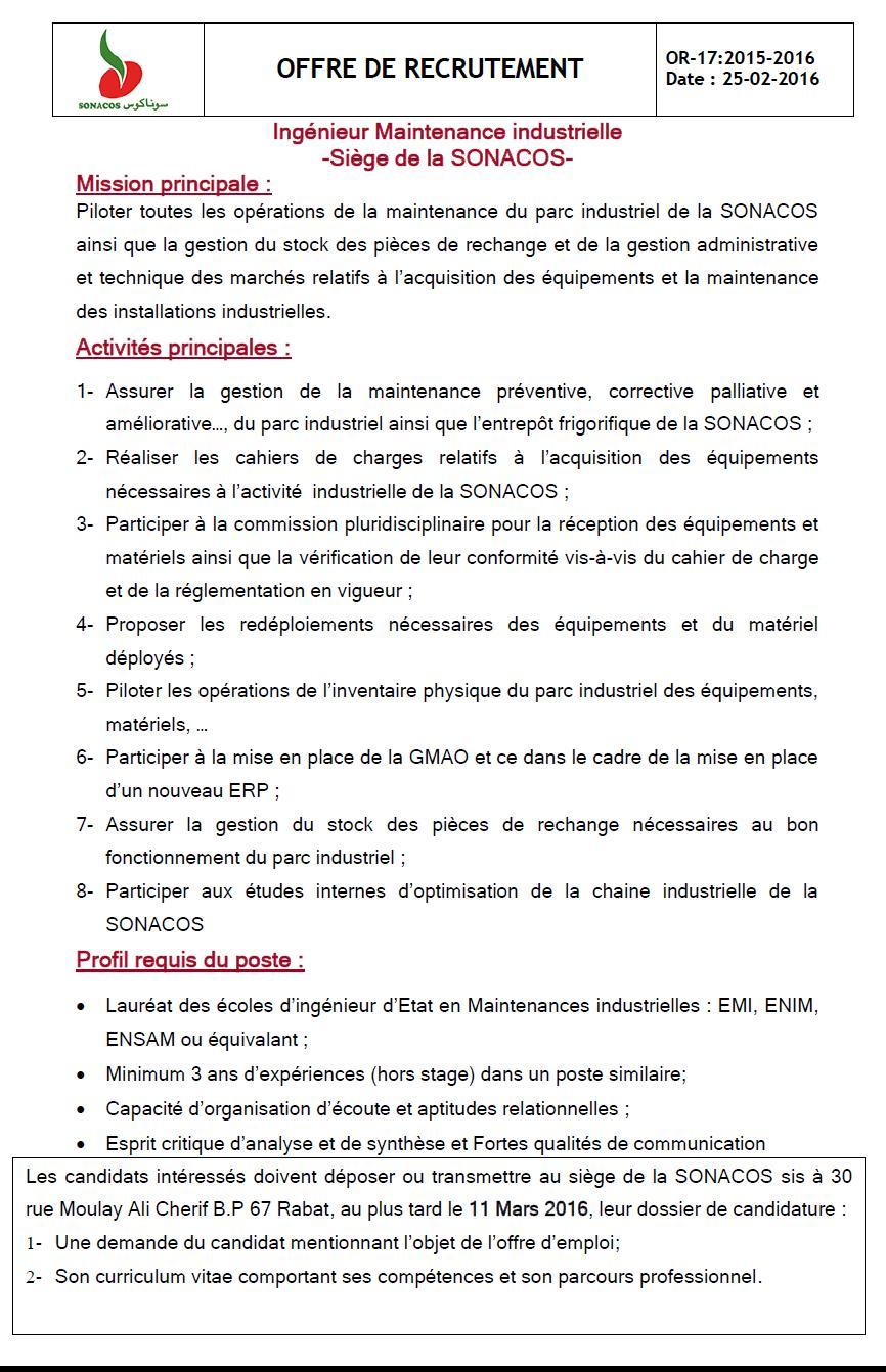 """الشركة الوطنية لتسويق البذور """"سوناكوس"""" : مباراة لتوظيف مهندس في الصيانة الصناعية (1 منصب) آخر أجل لإيداع الترشيحات 11 مارس 2016  Concou15"""