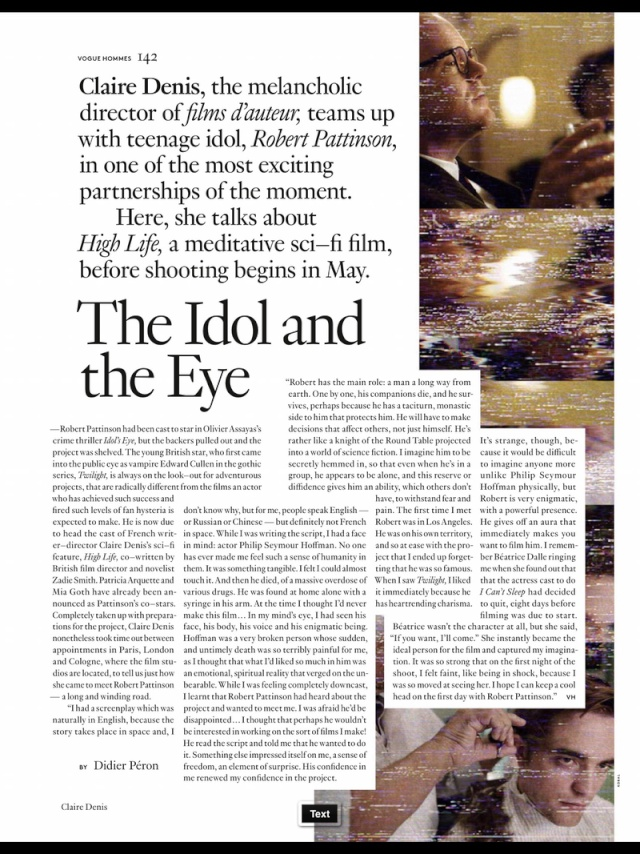 CLAIRE DENIS TALKS ABOUT ROB & HIGH LIFE TO VOGUE HOMME 1210