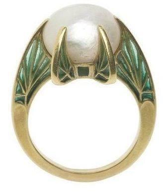 Bague perle et feuille Lalique 19193010