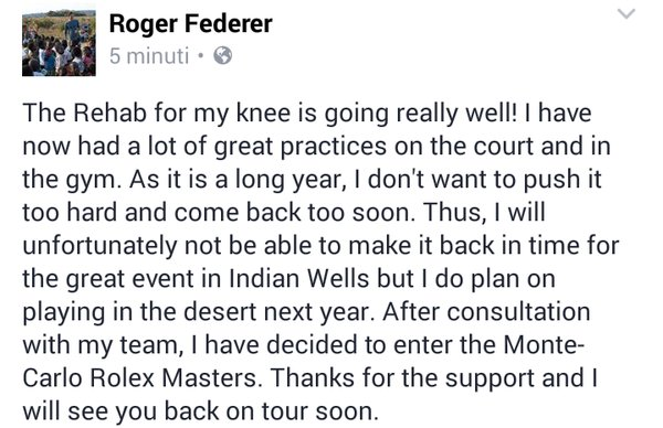 Federer out 'for at least one month' Image11