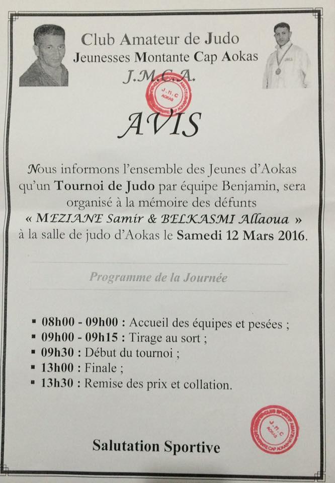 Tournoi de Judo à la mémoire  de Samir Meziane et Allaoua Belkasmi le 12 mars à Aokas  127