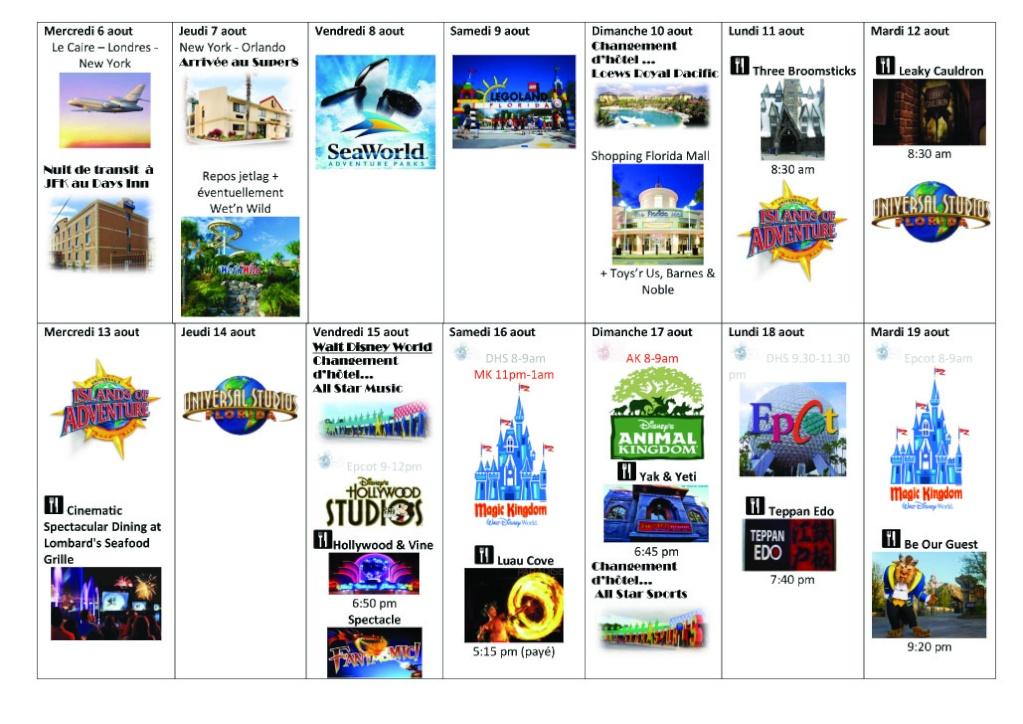 Orlando 2.0 et DCL 1.0 : Nouveau TR d'un vieux et néanmoins fabuleux séjour (aout 2014) Planif10