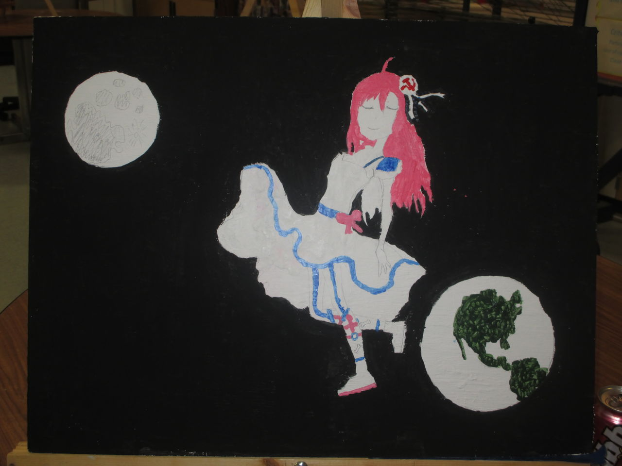 WIP Working on a Laika (in a dress) Painting (Acrylic) Img_1210