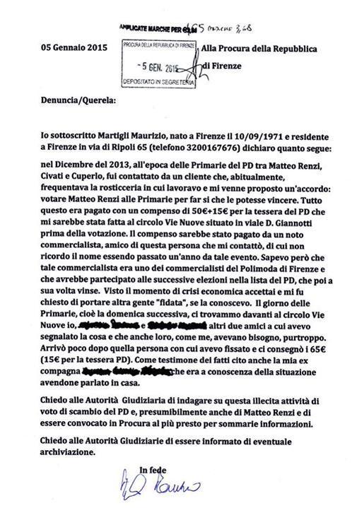 Magistratura insabbia le denunce che riguardano Renzi