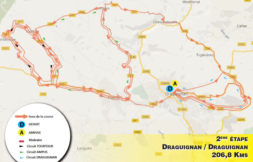 planimetria 2016 » 48th Tour Cycliste International du Haut Var-matin (2.1) - 2a tappa » Draguignan › Draguignan (206.8 km)