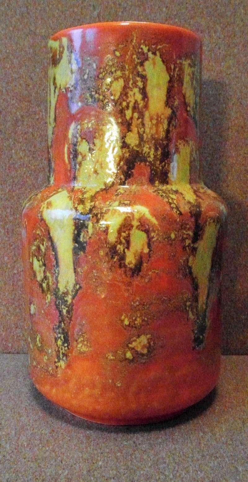English Orange Lava glaze earthenware vase Sam_5810