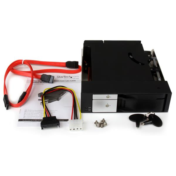 "Dual Bay 5.25"" Trayless Hot Swap for 2.5"" and 3.5"" SATA/SAS HDD or SSD with Fan Hsb25310"