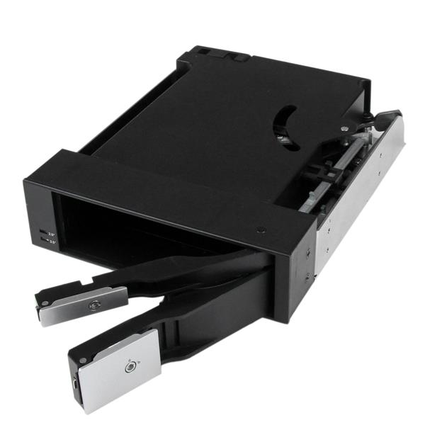"Dual Bay 5.25"" Trayless Hot Swap for 2.5"" and 3.5"" SATA/SAS HDD or SSD with Fan Hsb25312"
